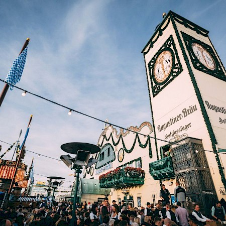 The Augustiner festival tent with its striking tower