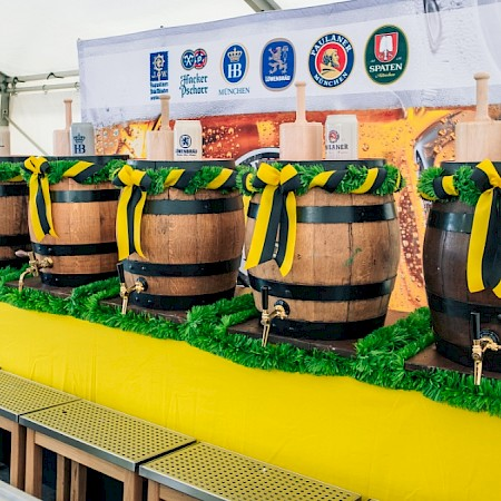 Six beer barrels for Oktoberfest